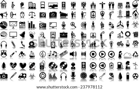 Set of 120 (one hundred twenty) vector icons of business, media, ecology and medical