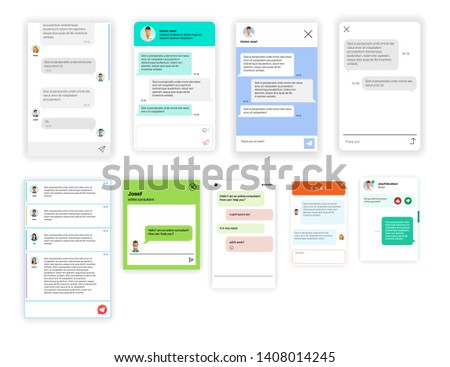 Set of online chat rooms for websites and mobile applications isolated on white background. Collection of group text messaging app on smartphone screen. Social online communication concepts chatting