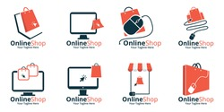 Set of Online Shop Logo designs Template. Illustration vector graphic of  shopping bag, computer and mouse logo. Perfect for Ecommerce,sale, store web element. Company emblem.