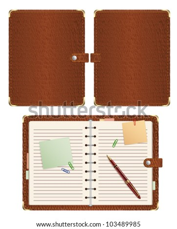 set of open and close vector personal organizer isolated on white background