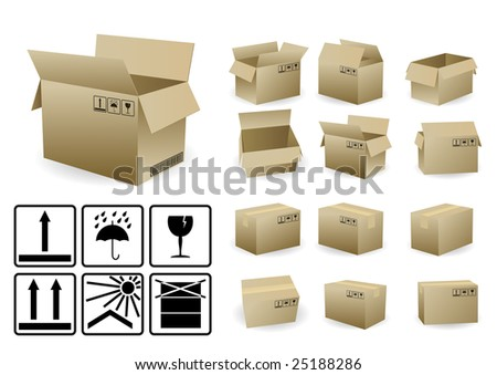 set of open and closed shipping box with condition symbols