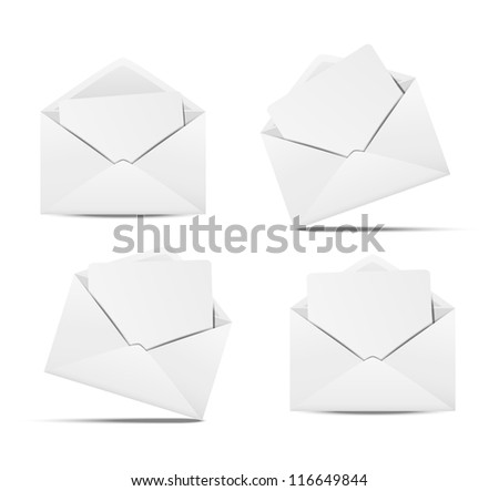 Set of open envelopes with paper