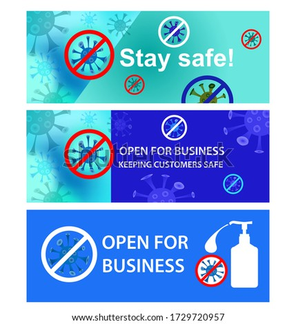 set of open for business vector
