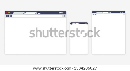 Set of Open Internet browser windows for different devices. Computer, tablet, phone sizes. Design a simple blank web page. Vector illustration for web site or mobile app