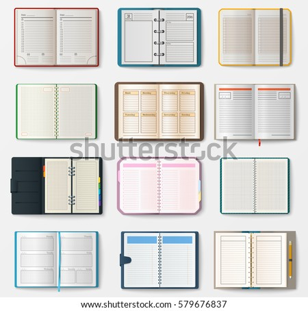 Set of open notebooks with pages vector illustration.
