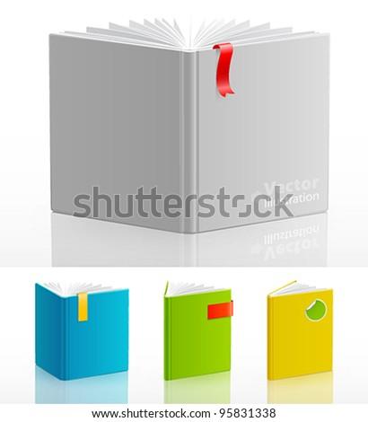Set of open standing books. Vector illustration.