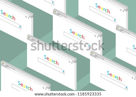 Set of open tabs on the Internet, Search. Isometric design
