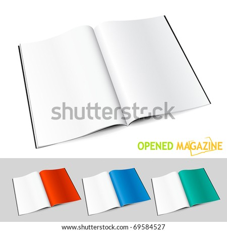 Set of opened magazines