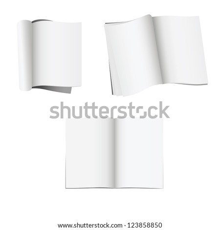 Set of 3 opened magazines with blank pages isolated on white background