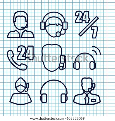 Set of 9 operator outline icons such as headset, operator, support, help support #608325059