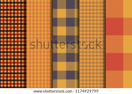 set of 5 options tartan