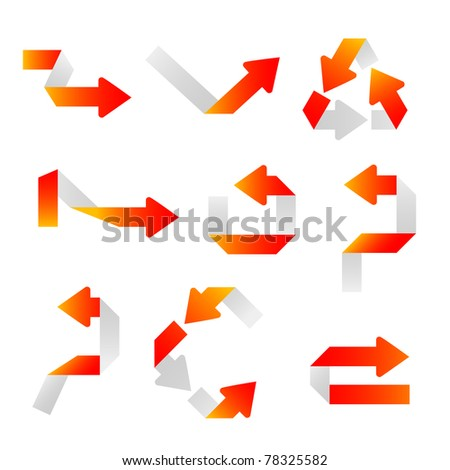 Set of orange arrows. Bent strips of a paper