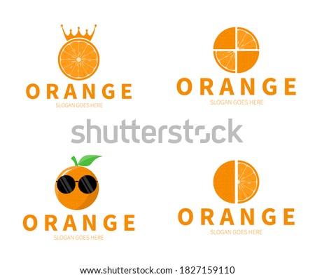 set of orange fruit logo