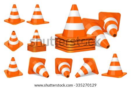 Set of orange plastic traffic cones icon