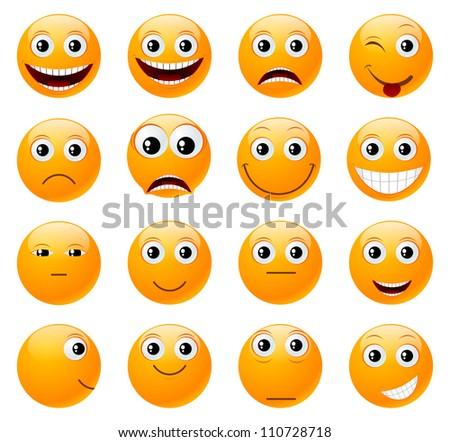 Set of orange smiles. Vector illustration, isolated on a white.