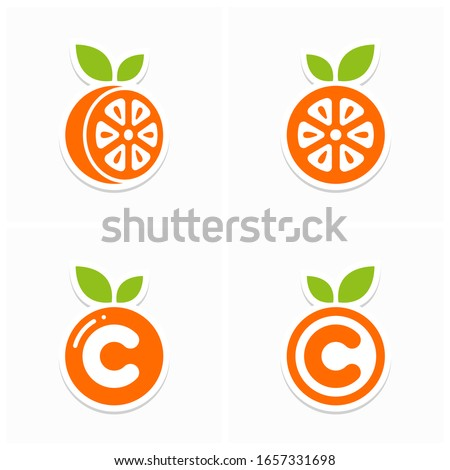 Set of Orange Vitamin C Simple Icon or Logo Design Vector