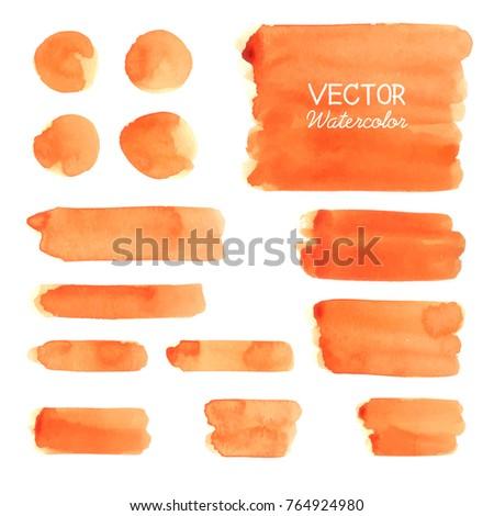 Set of Orange watercolor brush strokes. Vector brush stroke