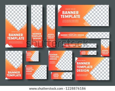 Set of orange yellow vector web banners with place for photo. Design a standard size template for business and advertising with a gradient. #1228876186