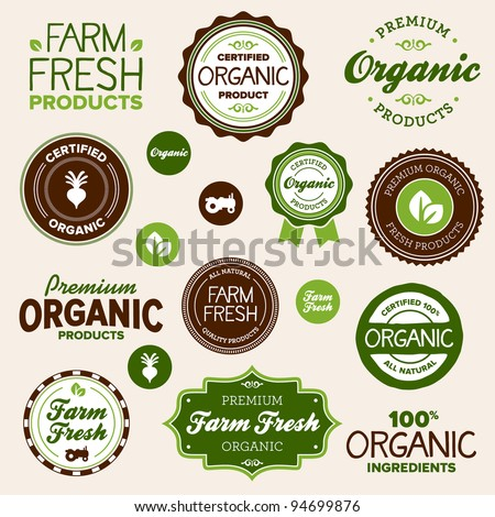 set of organic and farm fresh