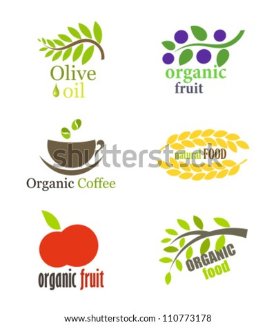 Set of organic and natural food labels or logos. Vector illustration