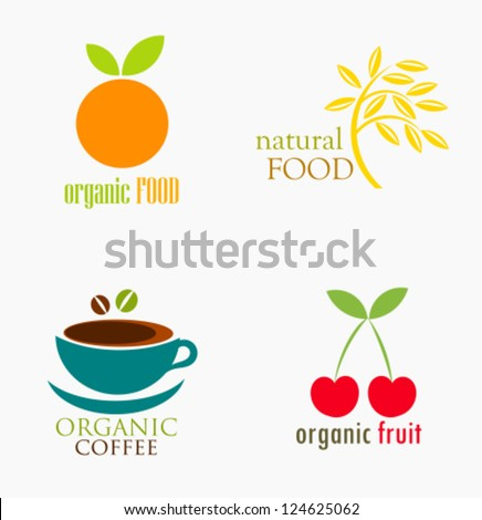 Set of organic and natural food symbols or logos. Vector illustration
