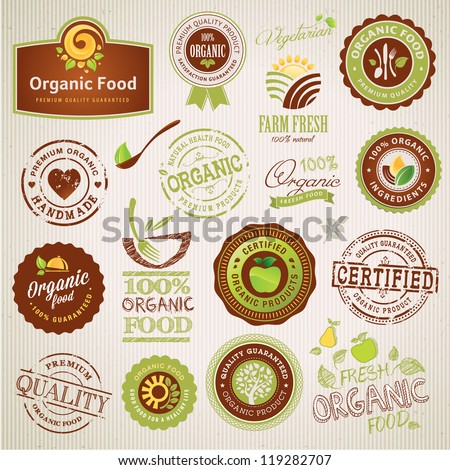 Set of organic food labels and elements - stock vector