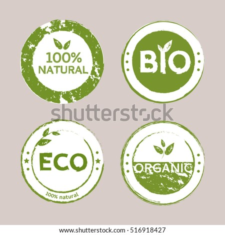 Set of organic healthy, vegan food banners. Bio, Organic, Eco, Natural badges, logos, labels, tags, icons, stickers. Vector illustration.