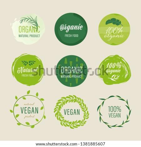set of Organic labels and natural labels green color design. Tag and Sticker Farm fresh logo vegan food mark guaranteed.