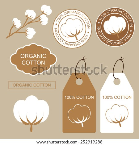Set of organic labels and stickers with cotton.