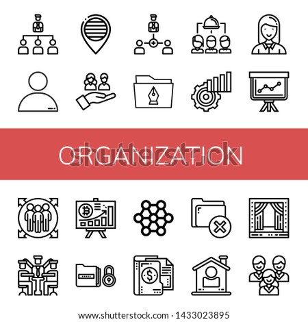 Set of organization icons such as Organization, People, Pride, Team, Collaboration, Folder, Group, Statistics, Employee, Staff, Team member, Manager, Diagram, Structure , organization