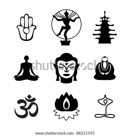 Set of Oriental icons. Templates of symbols of the Buddha, lotus, meditation, and others. Vector Collection.