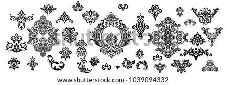 set of oriental vector damask