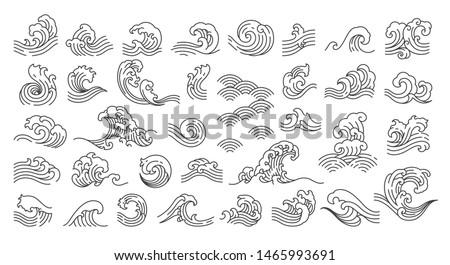 Set of oriental wave illustration. Japan wave. Japanese pattern. Linear style. - Vector.