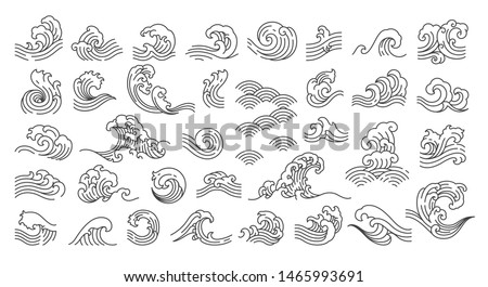 Set of oriental wave illustration. Japan wave. Linear style. - Vector.