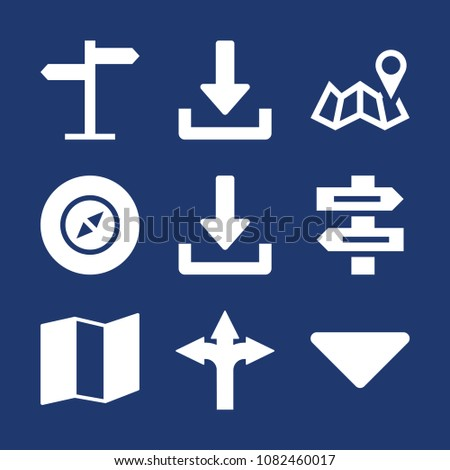 Set of 9 orientation filled icons such as download, sort down, compass, map, map with placeholder, direction sign, sign post