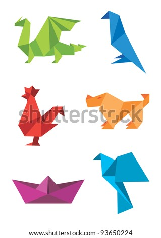 Set of origami colorful icons, animals and boat. Vector illustration.