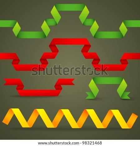 set of origami design elements - stock vector