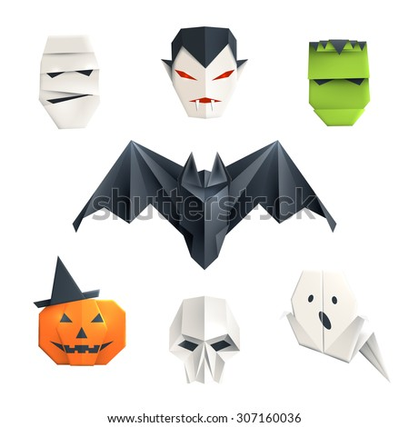 set of origami halloween
