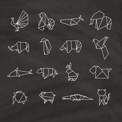Set of origami on black background
