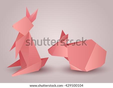 Origami Animals Paper Set Isolated On White Background
