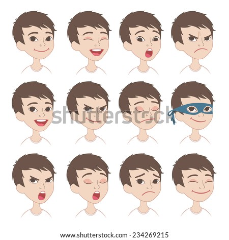 Emotional Scale Faces Caucasian Boy Face Emotions