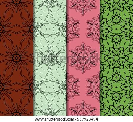 set of original geometric floral patterns. modern ornament. vector illustration for design invitation, background, wallpaper #639923494