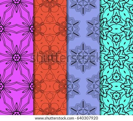 set of original geometric floral patterns. modern ornament. vector illustration for design invitation, background, wallpaper #640307920