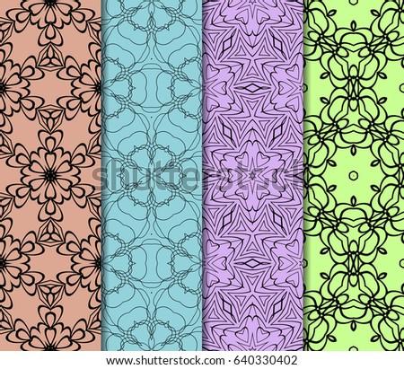set of original geometric floral patterns. modern ornament. vector illustration for design invitation, background, wallpaper #640330402