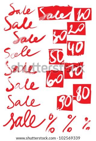 """Set of original inscriptions """"sale"""" and percents"""