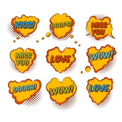 Set Of Original Quality Color Hand Drawn Comic Valentine Heart Bubbles Isolated On White