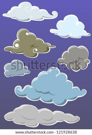 set of ornamental cloud on blue background