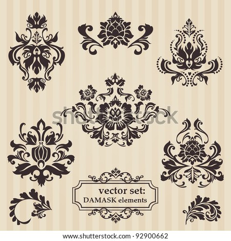 Set of ornamental DAMASK illustrations - for your design, invitation, greetings in vector