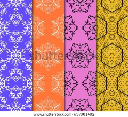 set of Ornamental flower design. Modern seamless geometry pattern. Vector illustration #639881482