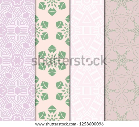 Set Of Ornamental Flower Design. Modern Seamless Geometry Pattern. Vector Illustration. For The Interior Design, Printing, Web And Textile Design #1258600096